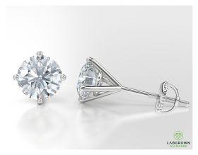 diamond stud earring with three prong setting